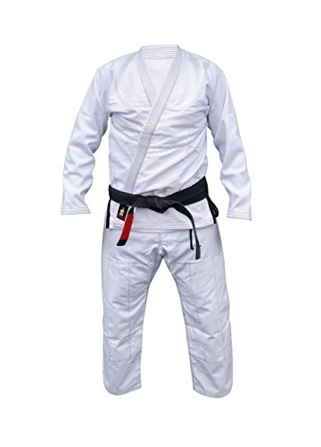 Your Jiu Jitsu Gear Brazilian Jiu Jitsu Black,Blue,White and Grey BJJ Uniform (A3 5'8 to 6'1 Height, Black contrast stiching)