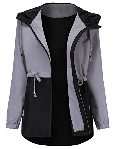 (Romanstii Waterproof Rain Jackets Women Lightweight Ladies Jacket Hood Softshell Coat Hiking Grey XXL)
