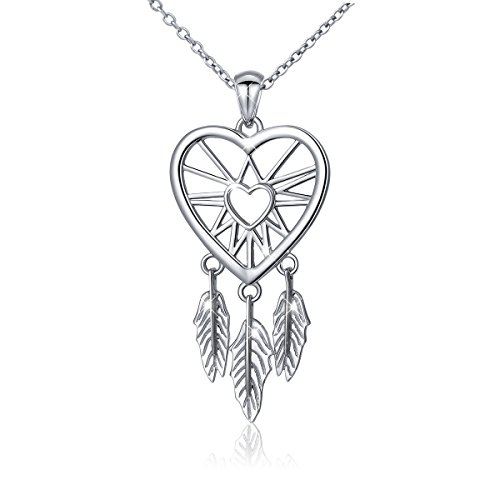 ATHENAA S925 Sterling Silver Dream Catcher Feather Forever Love Heart Pendant Necklace,18 inches ()