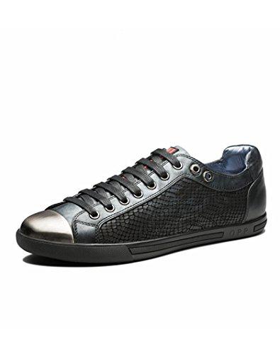 Opp Heren Lace-up Toevallige Schoenen In Leer Os173153-zwart