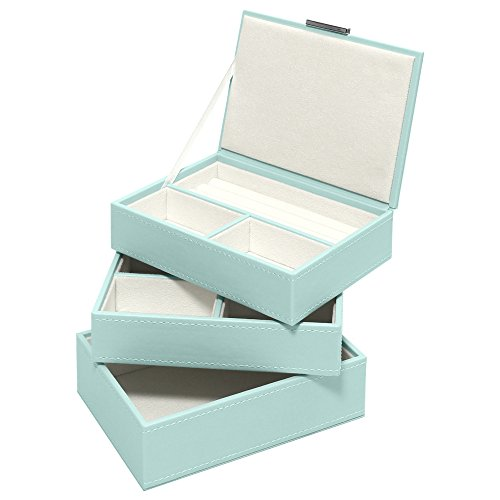 Swing Design Nova Stacking 3 Piece Jewelry Box, Small, Blue Mist