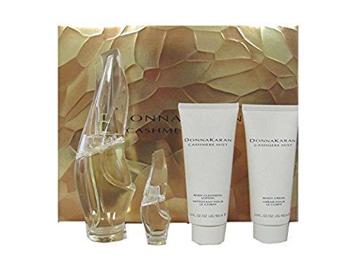 Cashmere Mist by Donna Karan Gift Set: 3.4 oz Eau de Parfum Spray + .17 oz Eau de Parfum Miniature + 3.4 oz Body Cream + 3.4 oz Body Cleansing Lotion