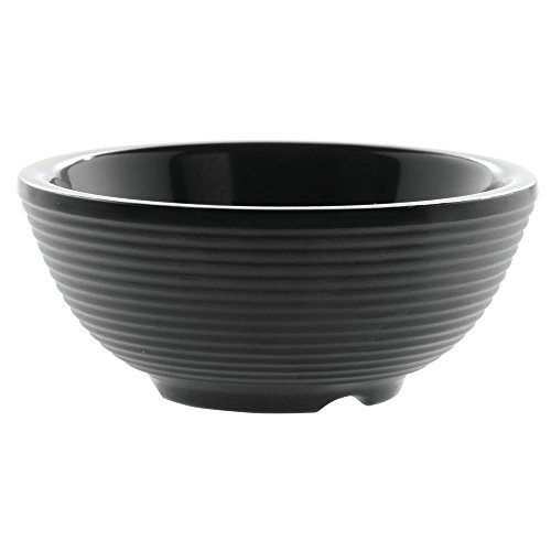 TableCraft Products RAM2RBK 2 oz. Round Ribbed Ramekin, Black Melamine (Pack of 12) (Ribbed Ramekin)