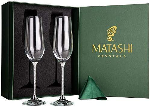 cadf5a5b13a7 Matashi Set of 2 Champagne Flutes with Lead Free Titanium Sparkling Crystal  Filled Long Stem Toasting Glasses