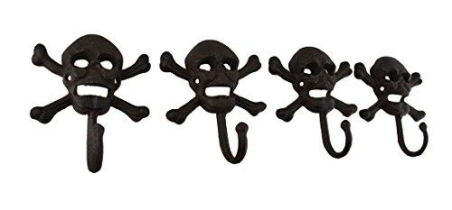 - Zeckos Set of 4 Rustic Cast Iron Skull and Bones Decorative Wall Hooks