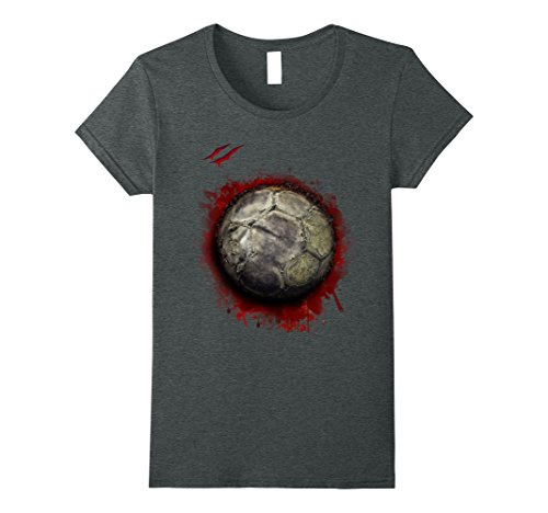 Womens Zombie halloween soccer t shirt for halloween gifting Small Dark Heather