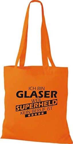Shirtstown Stoffbeutel Ich bin Glaser, weil Superheld kein Beruf ist Orange