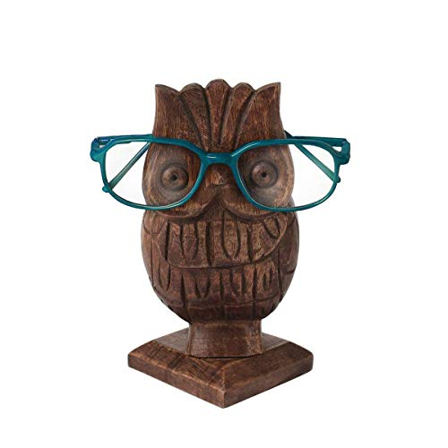 ing Gifts Wooden Owl Shaped Eyeglass Holder Pen Pencil MultiUtility Stand Desk Organizer Eyeglasses Display Funky Storage Case ()