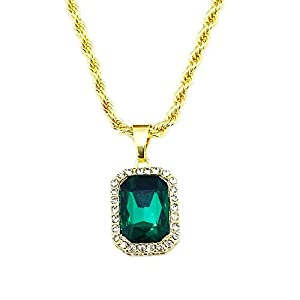 HH Bling Empire Mens Celebrity Style Hip Hop Gold Synthetic Ruby Emerald Sapphire Pendant Necklace