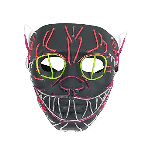 LiPing LED Halloween Light Up Face Scary Mask for Men Women Party Christmas Halloween Costume Mask (18x16x9cm)
