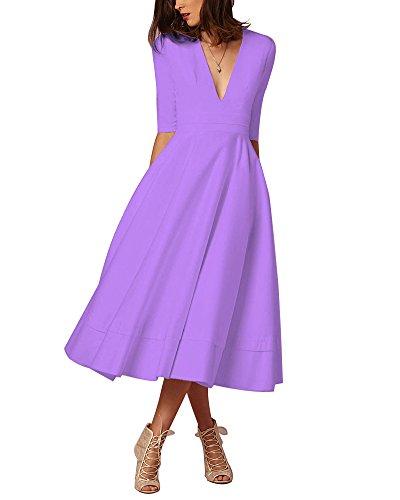 Collo Cerimonia Lunghi Vestiti Donna Elegante Abito Sera Da V Pieghe A Vestito Matrimonio Chiaro Viola Damigella Maxi UXwqC