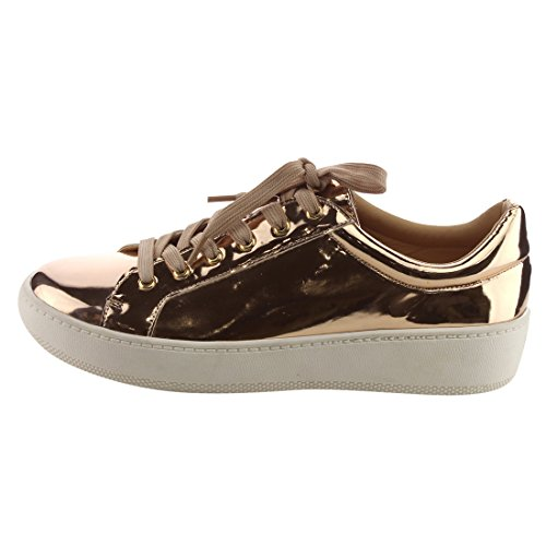 Betani Ei30 Dames Lace Up Lage Top Gevoerde Hielband Vegan Mode-sneakers Champagne