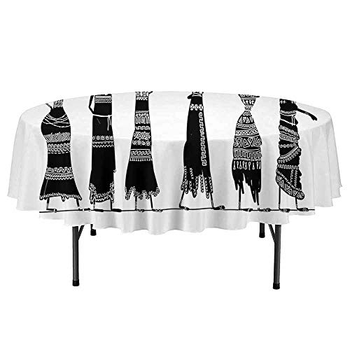 Douglas Hill African Woman Printed Round Tablecloth Sketch of Local Women with Jugs Silhouettes Tribal Patterned Dresses Desktop Protection pad D35 Inch Black and White