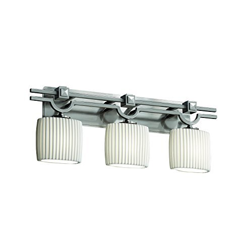- Justice Design Group - Limoges Collection - Argyle Bath Bar - Oval - Brushed Nickel Finish with Pleats Shade by Justice Design Group Lighting