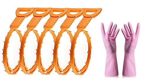 25 Inch Drain Snake Hair Drain Clog Remover Cleaning Tool,5 Pack Drain Cleaning Tool with rubber glove, Drain Cleaning Tool for Bathroom Tubs, Toilet, Kitchen, Clogged Drains, Dredge Pipe and More