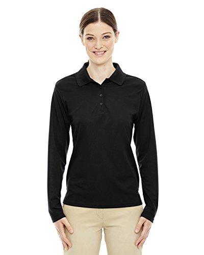 Shirt Sleeve Core Long (Ash City - Core 365 Performance Long Sleeve Pique Polos 78192 -BLACK 703 M)