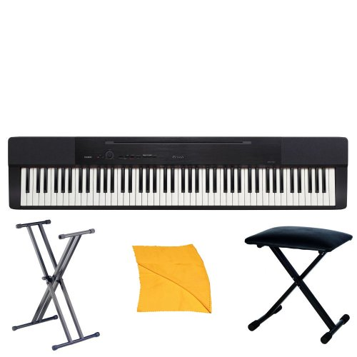 Casio PX150BK Piano with Casio ARDX Deluxe Stand, X Style Bench and Zorro Sounds Piano Polishing Cloth