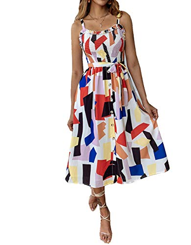 (PinHo Women's Summer Sunflower Boho Spaghetti Strap Button Down A-Line Midi Dress with Pockets)