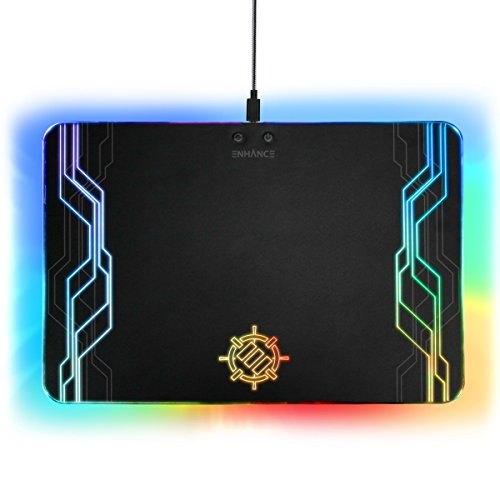 41KXccDLtSL - ENHANCE LED Gaming Mouse Pad Hard Large Surface - 7 RGB Light Up Modes , Lighting Brightness Controls with Transparent Decals & Edges - Ambient Desktop Lighting & Accurate Tracking