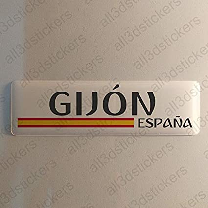 Pegatina Gijon España Resina, Pegatina Relieve 3D Bandera Gijon ...