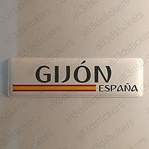 Pegatina Gijon España Resina, Pegatina Relieve 3D Bandera Gijon España 120x30mm Adhesivo Vinilo: Amazon.es: Coche y moto