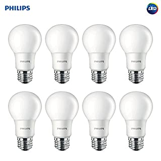 Philips LED 462168 Non-Dimmable A19 Frosted Light Bulb: 800-Lumen, 5000-Kelvin, 8 (60-Watt Equivalent), E26 Base, Daylight, 8-Pack, Count