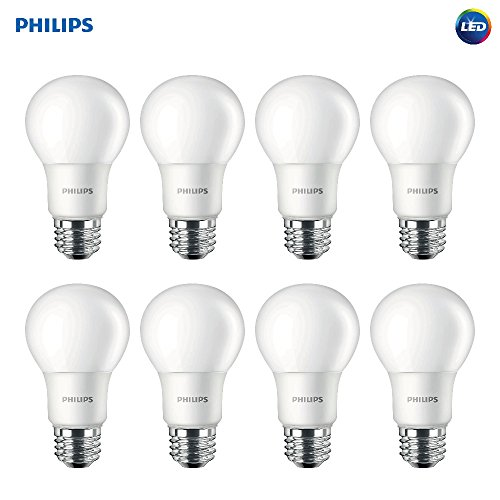 Philips LED Non-Dimmable A19 Frosted Light Bulb: 800-Lumen, 5000-Kelvin, 8-Watt (60-Watt Equivalent), E26 Base, Daylight, 8-Pack