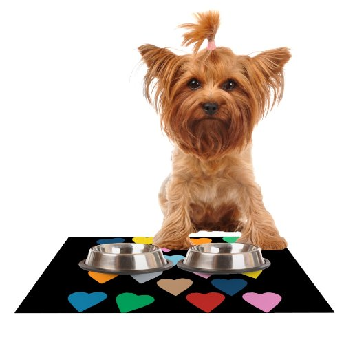 Kess InHouse Project M Hearts color on Black  Feeding Mat for Pet Bowl, 18 by 13-Inch
