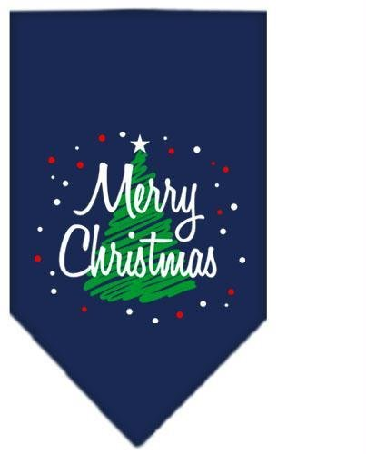 Scribble Merry Christmas Screen Print Bandana Navy Blue large Case Pack 24 Sc... by DSD