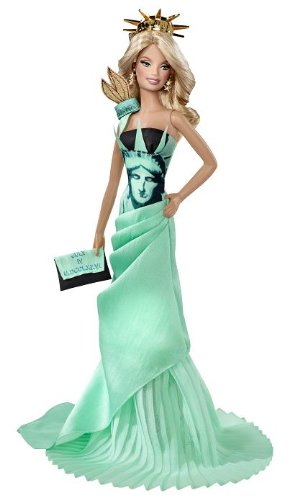 Barbie - T3772 - Dolls of the World Landmark Collection Toy - Statue of Liberty Deluxe Barbie Collectors Doll