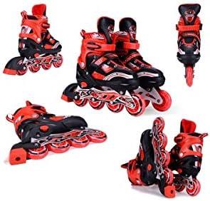 インラインスケート四輪フリーサイズメタルダスト画面アルミ合金ブラケットPP繊維素材の靴シェル優秀なギフト良い選択 (Color : Red, Size : Shoes+full equipment)