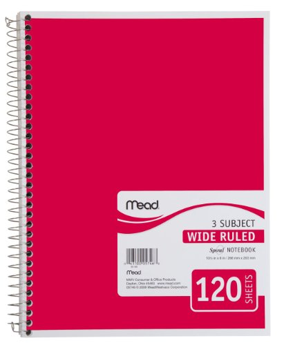 "Mead Spiral Notebook, 3 Subject, Wide Ruled Paper, 120 Sheets, 10-1/2"" x 7-1/2"", Red (72225)"