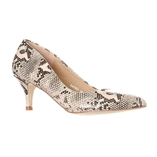 Riverberry Women's Katy Pointed Closed Toe Kitten Low Heel Pumps, Beige Python, 9