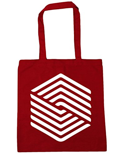 HippoWarehouse Square Illusion Tote Shopping Gym Beach Bag 42cm x38cm, 10 litres Classic Red