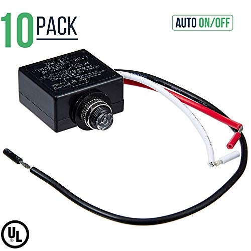 120 Volt Dusk to Dawn Photocell Photoeye Light Sensor Switch - Auto On/Off - Use with Fluorescent, Incandescent or LED Bulbs (10 Pack) ()