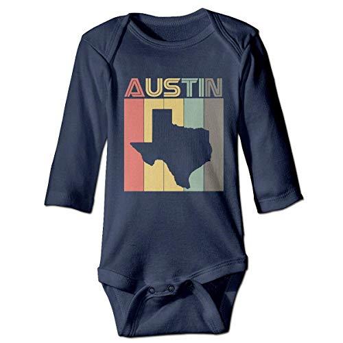 Infant Baby Boys Girls Long Sleeve Climb Jumpsuit Austin Texas Retro Vintage Print Jumpsuit Onesie Navy -