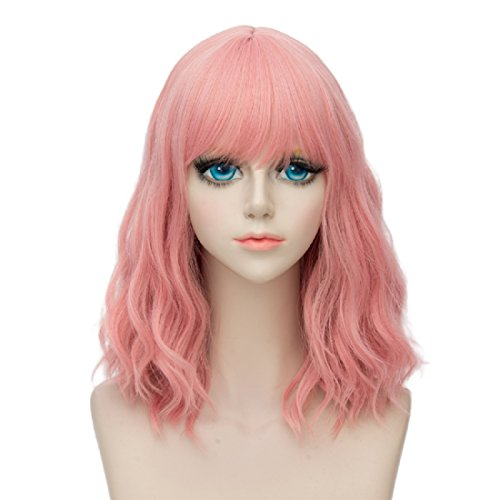 14'' Short Curly Women Girl's Charming Synthetic Wig with Air Bangs + Wig Cap(Pink) (Female Costumes For Comic Con)