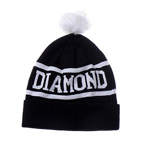 Black Diamond Diamond Beanie (AStorePlus Fashionable Men Daily Beanie, Acrylic Diamond Word Fall/Winter Knit Beanie Caps Hats, Black & White)