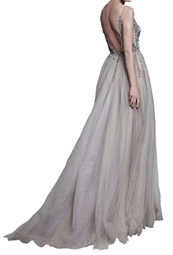 Braujungfernkleider Grau Abendkleider Ballkleider Sexy V Perlen Lange Ausschnitt T¨¹ll Kristall Damen Changjie tTP6ww