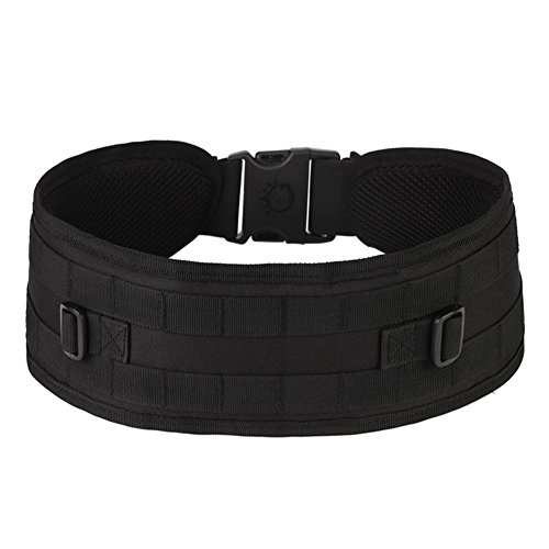 Padded Waist Belt (MOLLE Molded Waist Belt Padded Mesh Adjustable Tactical Duty Belt Army Military Battle Belt with Buckle for Backpack Molle Pouch Tactical Gear - Black)