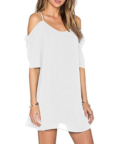 Womens Chiffon Cut Out Cold Shoulder Spaghetti Strap Mini Dress Top, White, X - Large