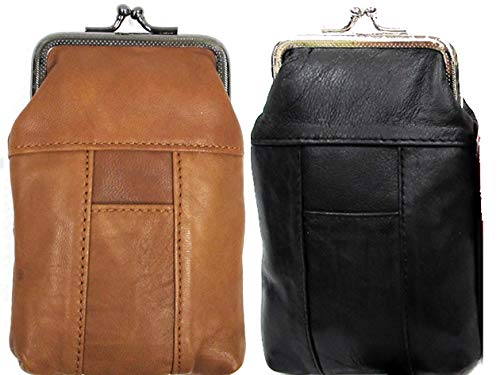Snap Top Genuine Soft Leather Cigarette Case 2pc for $10.99 BLACK + BROWN
