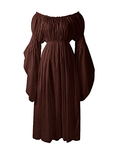 ReminisceBoutique Renaissance Medieval Costume Pirate Faire Celtic Chemise Under Dress (Regular, Brown)