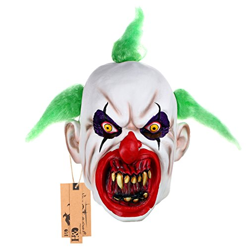 Hyaline&Dora Halloween Latex Clown Mask With Hair for Adults,Halloween Costume Party Props Masks (green)