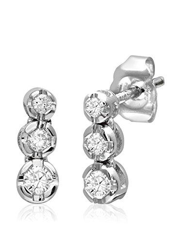 Revoni Bague en or blanc 9carats-Diamant 0,15ct trilogie Boucles d'oreilles