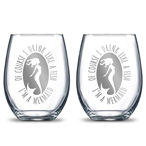 Of Course I Drink Like a Fish I'm a Mermaid 21oz. Etched Stemless Wine Glasses | 2 Glass Set Packed in an Stylish Gift Box | Premium Hand Etching | The Perfect Mermaid Lovers Gift ()