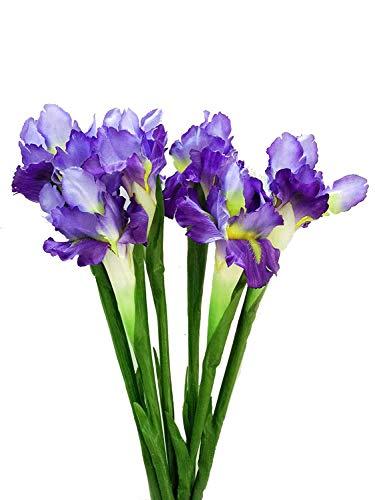 U&M2 6 pcs Artificial Iris Silk Flower for Wedding Party Home Decor (Purple 6 pcs)