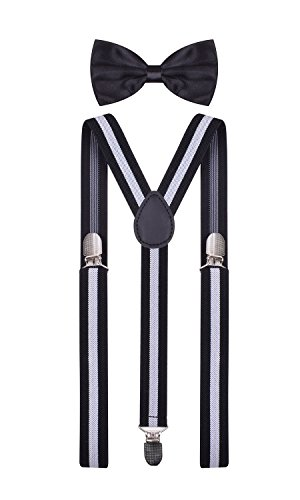 1920s adjustable suspenders for men with bowtie set Black White Stripe - Clothing & Accessories