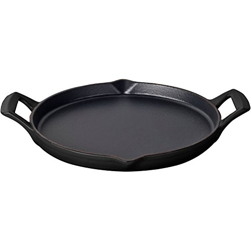 (La Cuisine LC 9140 Round 12 In. Cast Iron Shallow Griddle with 2 Wedge Handles and Enamel Finish, Black)