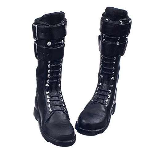 MagiDeal Black 1/6 Scale lace Up Buckle Flat Long Boots Shoes for 12 inch Female Action Figure Body ()